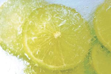 Limetten-Scheiben, gefroren, Nahaufnahme