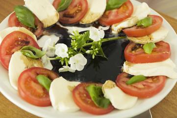 Mozzarella mit Tomaten, Nahaufnahme