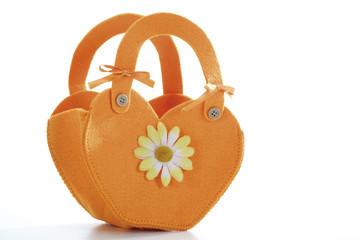 Orangene Filz-Handtasche, Nahaufnahme