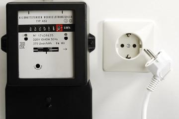 Stromzähler, Buchse und Stecker