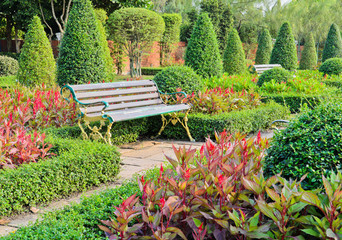 Bench in the ornamental garden