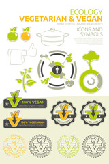 Vegan and vegetarian vector set