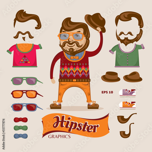 Hipster handsome man with hipster accessories