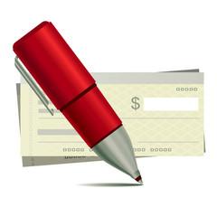 pen and blank checks