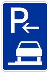 Parken ganz auf Gehwegen in Fahrtrichtung rechts (Anfang)
