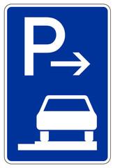 Parken ganz auf Gehwegen in Fahrtrichtung rechts (Ende)