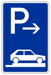 Parken ganz auf Gehwegen quer zur Fahrtrichtung rechts (Ende)