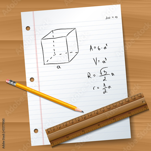 Math exam paper with pencil and ruller