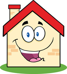 Happy House Cartoon Mascot Character