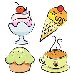 Set. Desserts and coffee. Vector illustration