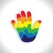 colorful paint spill(splash) on hand(palm) icon(sign)- vector gr