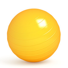 Orange fitness ball isolated on white