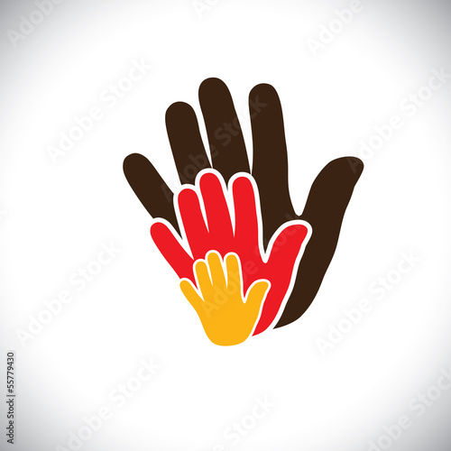 hand icons of parent & child showing concept of family- vector g