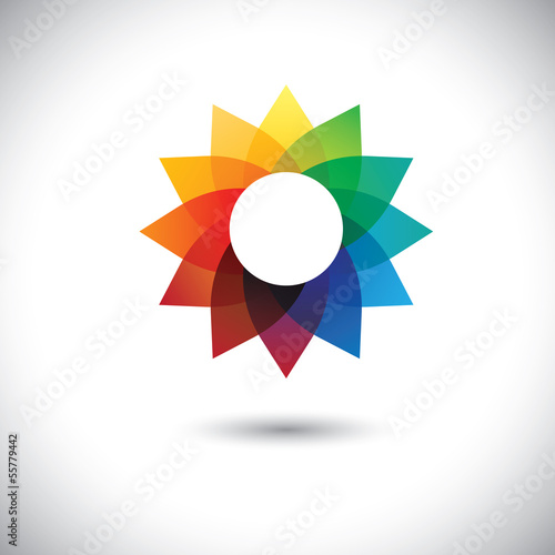 beautiful colorful fantasy flower in rainbow colors- vector grap