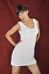donna vestito bianco rosso
