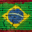 Grunged Brazilian Flag over a brick wall