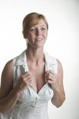Portrait of mid age woman with fair hair