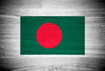 Bangladesh flag on wood texture