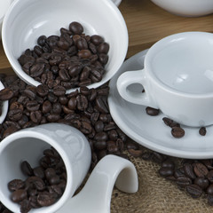 coffee beans and cups white