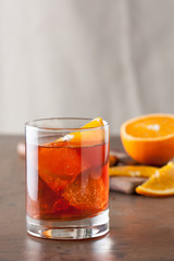 Classic americano cocktail on wooden table