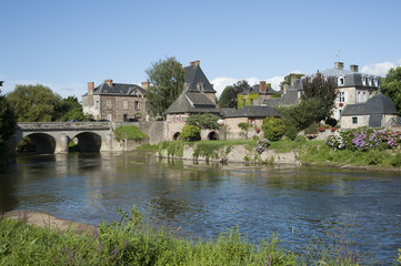 River Selune famous for salmon fishing Ducey France