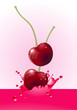Cherry splash. Vector.