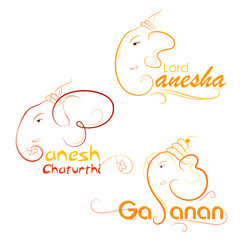 vector illustration of Lord Ganesha on abstract background