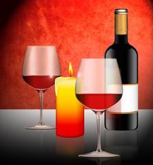 Candke light dinner mit Flasche Rotwein und Gläser