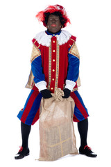 Zwarte Piet with a bag full of presents