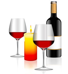 candle light dinner - Flasche Rotwein mit zwei Gläsern