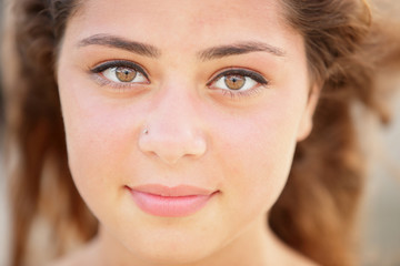 Close-up headshot beautiful young teen