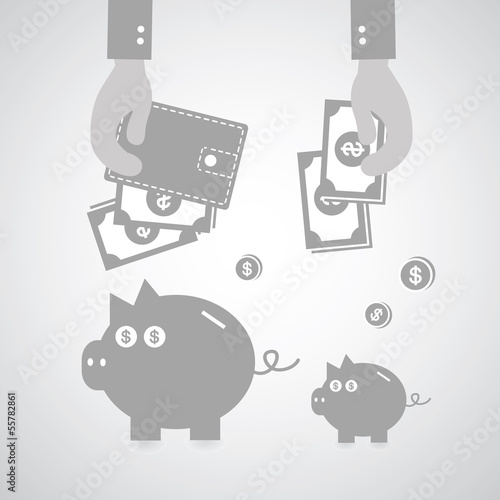 Piggy bank and wallet