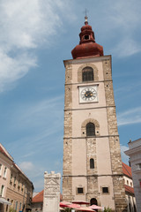 Ptuj - City Tower and Orpheus Monument (left)