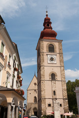 Ptuj - City Tower and St. George church in Slovenian square