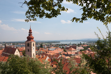 Panoramic view from Ptuj Castle over  Drava river