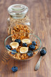 Granola with banana and blueberry