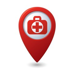 Medical bag icon with cross on red map pointer.