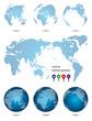 地球・世界地図・ドットデザイン