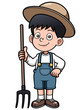 Vector illustration of Cartoon little farmer