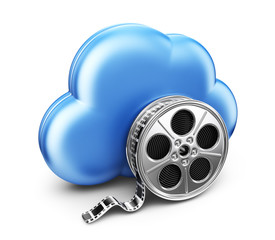 Storage movie film in cloud. 3D Icon isolated on white backgroun