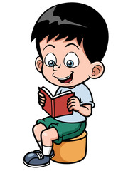 Vector illustration of Boy reading a book