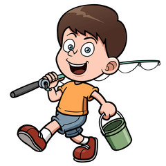 Vector illustration of Boy fishing