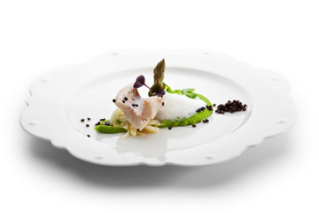 Seabass with Peas