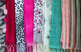 The collection of beautiful colorful scarves