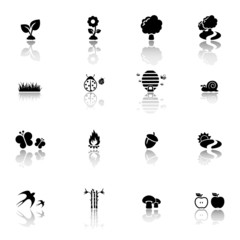 Nature symbols icon set