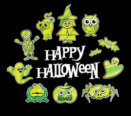 Halloween cute cartoons. Vector character design collection
