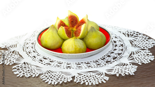 Saucer with fig snack on lacy doily