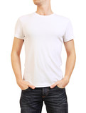 Image of white t-shirt on a young man isolated on white