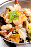 fried seafood Sukiyaki on pot