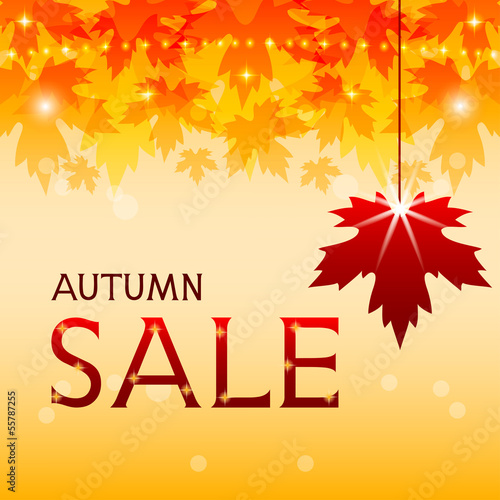 Autumn sale background with maple leaves. Fall discount.